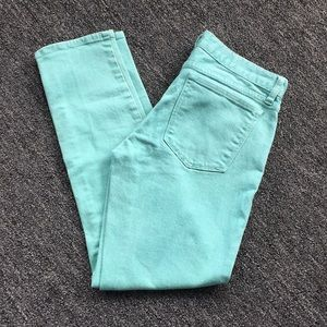 J Crew Toothpick Mint Green Jeans size 28 ankle